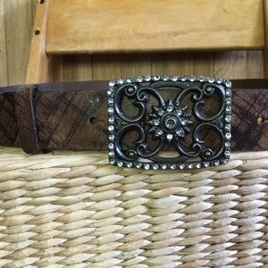 Buckle brown belt jeweled buckle